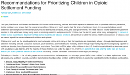 Recommendations for Prioritizing Children in Opioid Settlement Funding