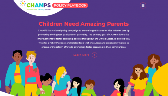 Image for CHAMPS policy playbook. Image shows several artistic sketches of children and adults together.