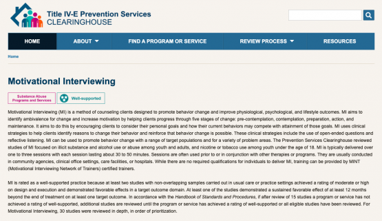 Screenshot of Motivational Interviewing on Prevention Services Clearinghouse