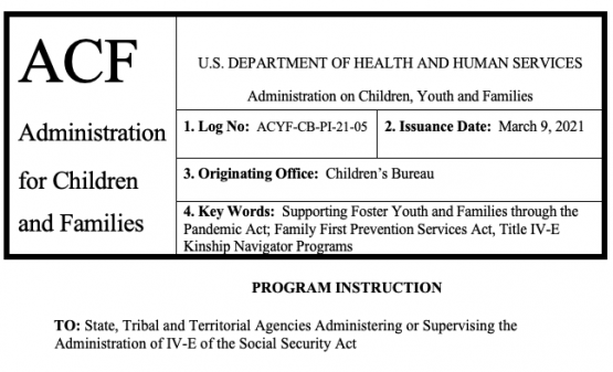 ACYF-CB-PI-21-05- Kinship Navigator Funding in Consolidated Appropriations Act