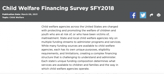 image shows text that reads: Child Welfare Financing Survey SFY2018